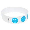 Neon Blue Happy Face Tyvek Event Wristbands
