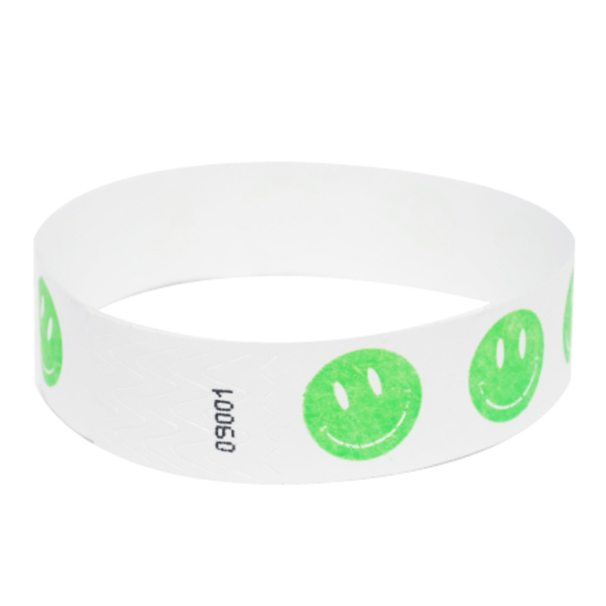 Neon Green Happy Face Tyvek Event Wristbands