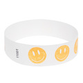 Neon Orange Happy Face Tyvek Event Wristbands