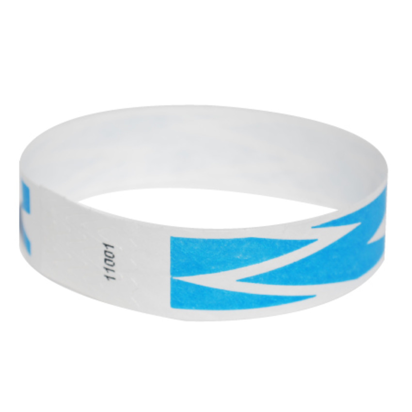 Neon Blue ZigZag Tyvek Event Wristbands
