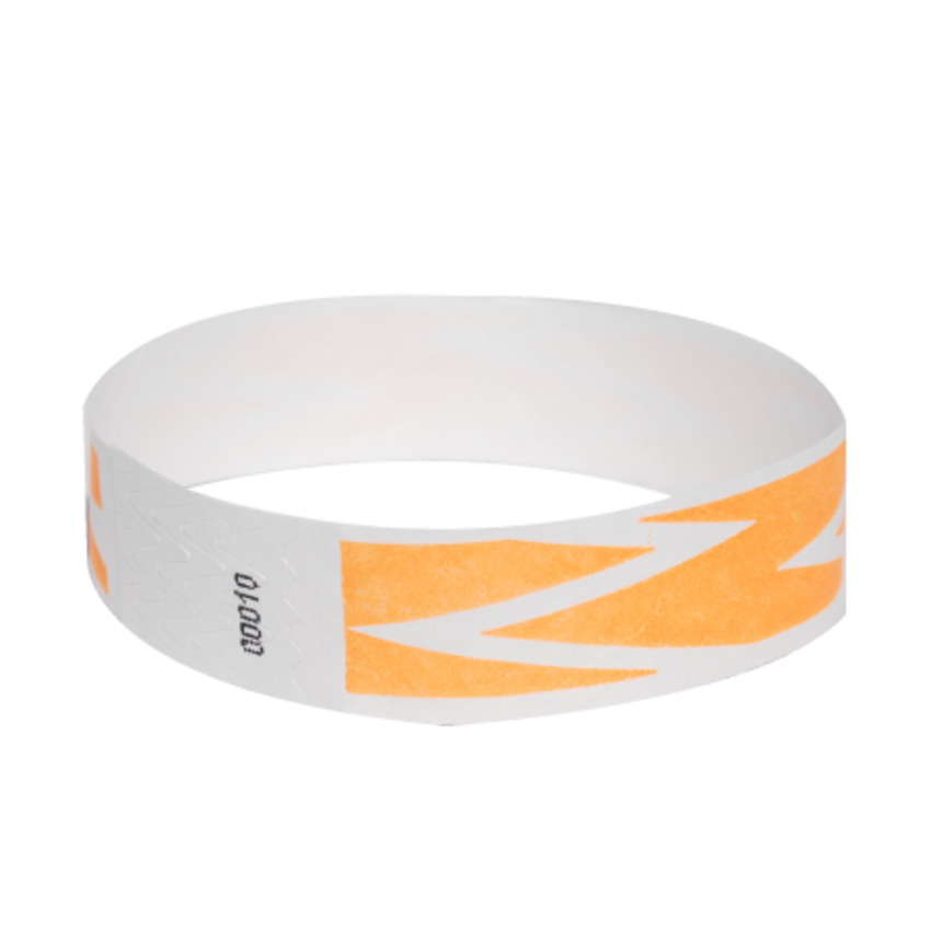 Neon Orange ZigZag Tyvek Event Wristbands