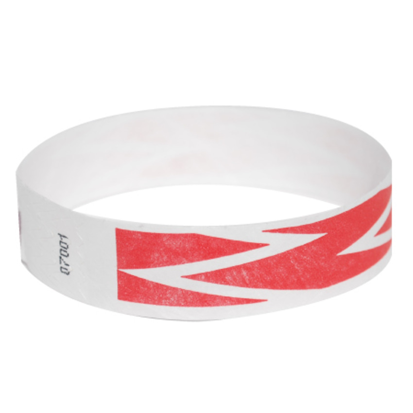 Neon Red ZigZag Tyvek Event Wristbands