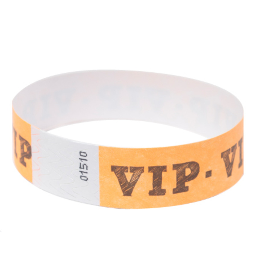 Neon Orange VIP Tyvek Event Wristbands