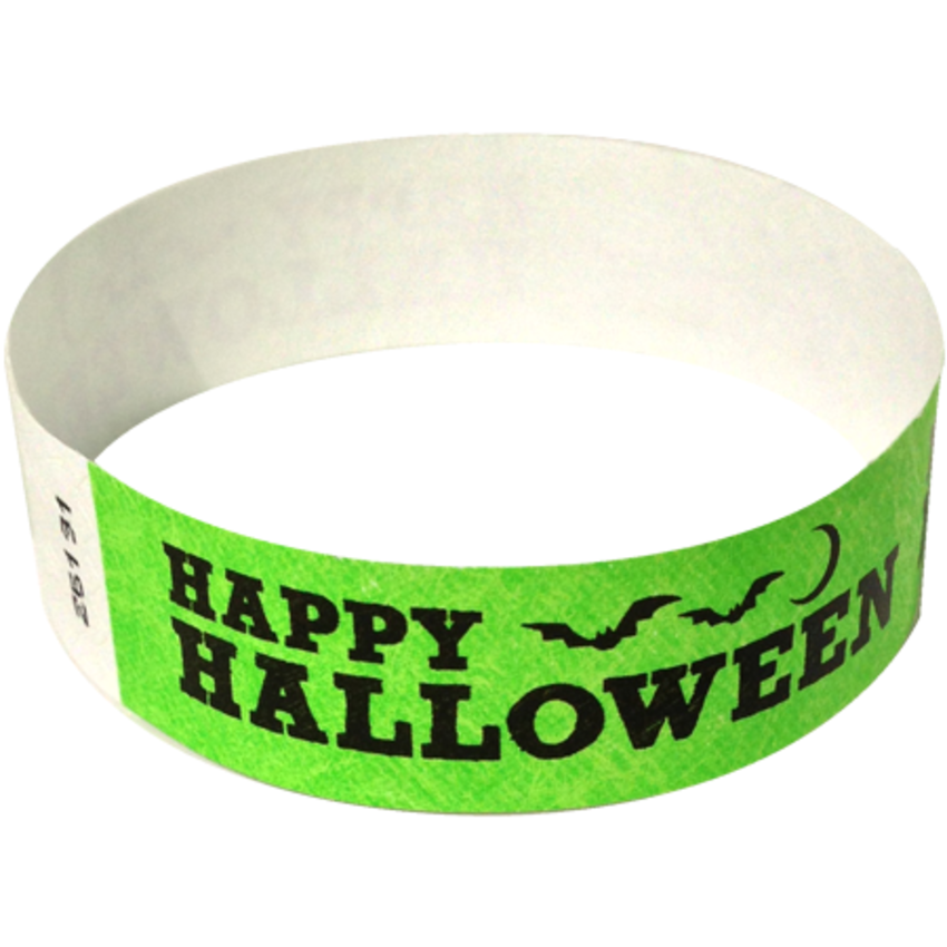 Neon Green Happy Halloween Wristbands