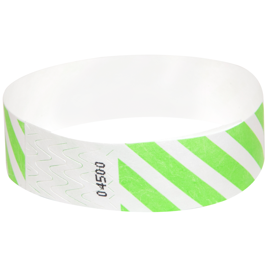 Neon Green Diagonal Tyvek Wristbands