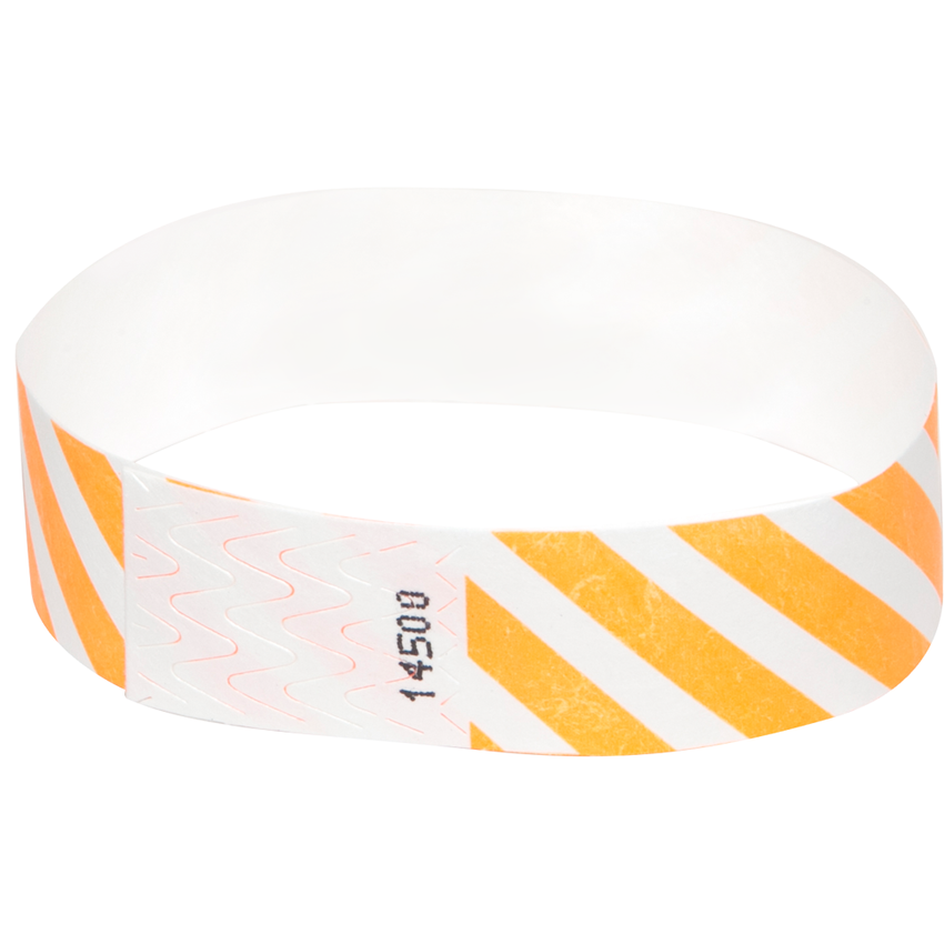 Neon Orange Diagonal Tyvek Wristbands