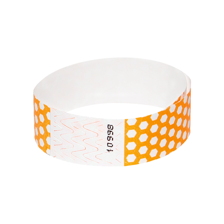 Neon Orange Honeycomb Tyvek Wristbands