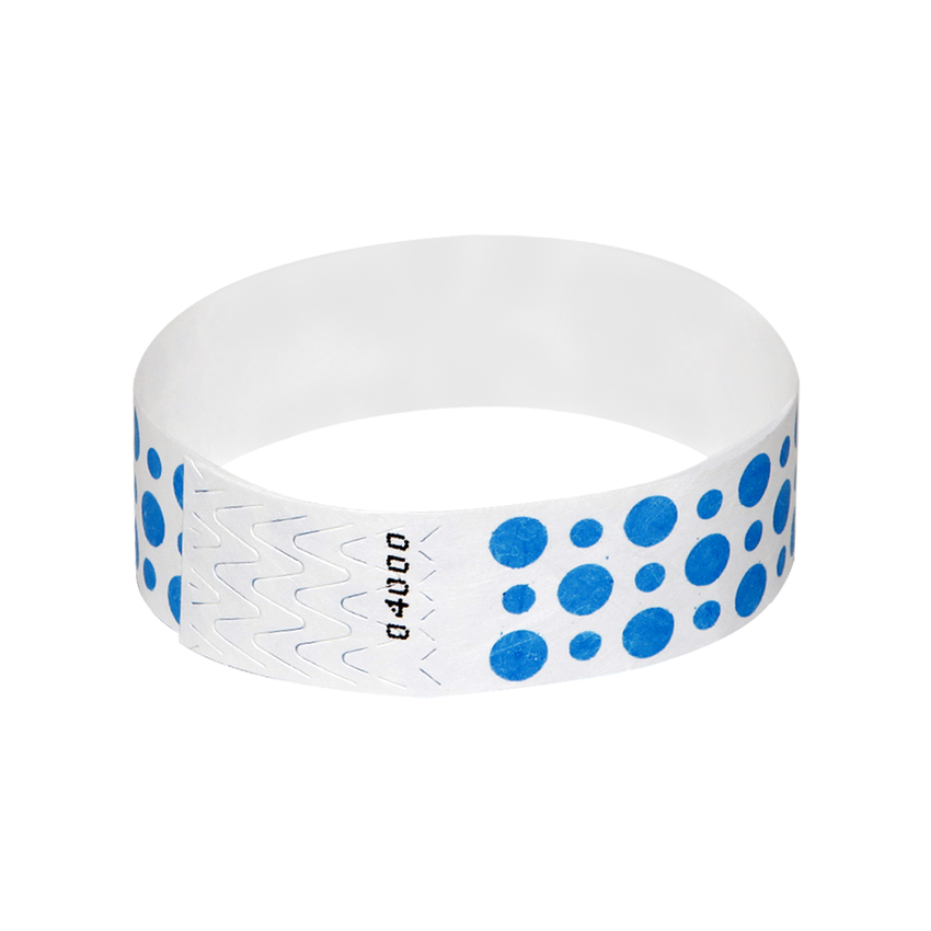 Bright Blue Dots Tyvek Wristbands