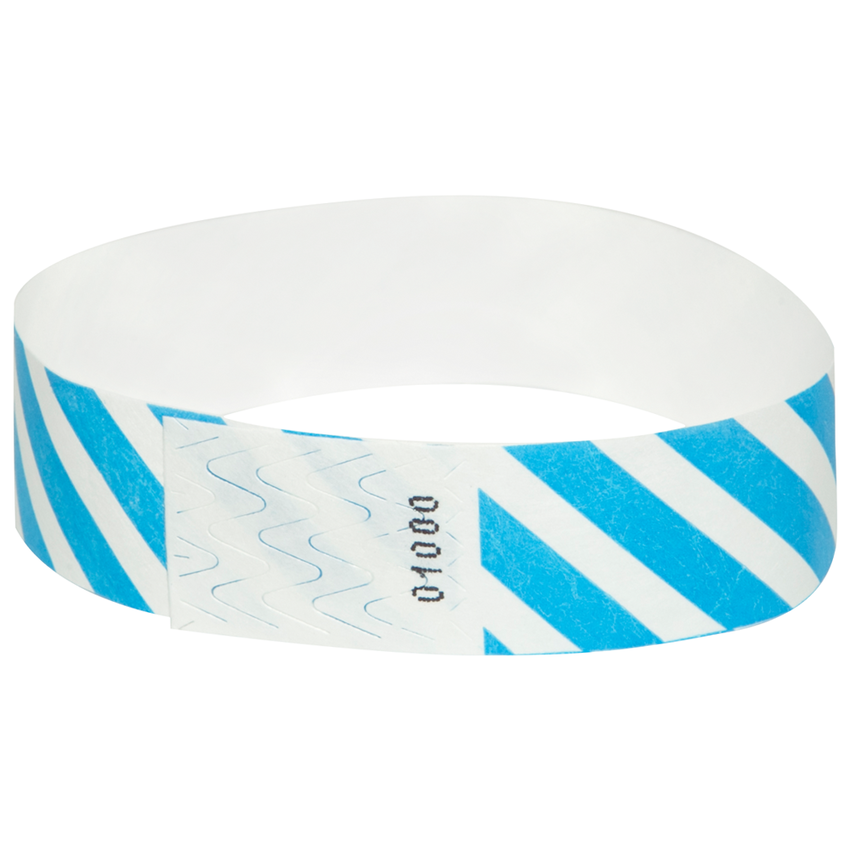 Bright Blue Diagonal Tyvek Wristbands