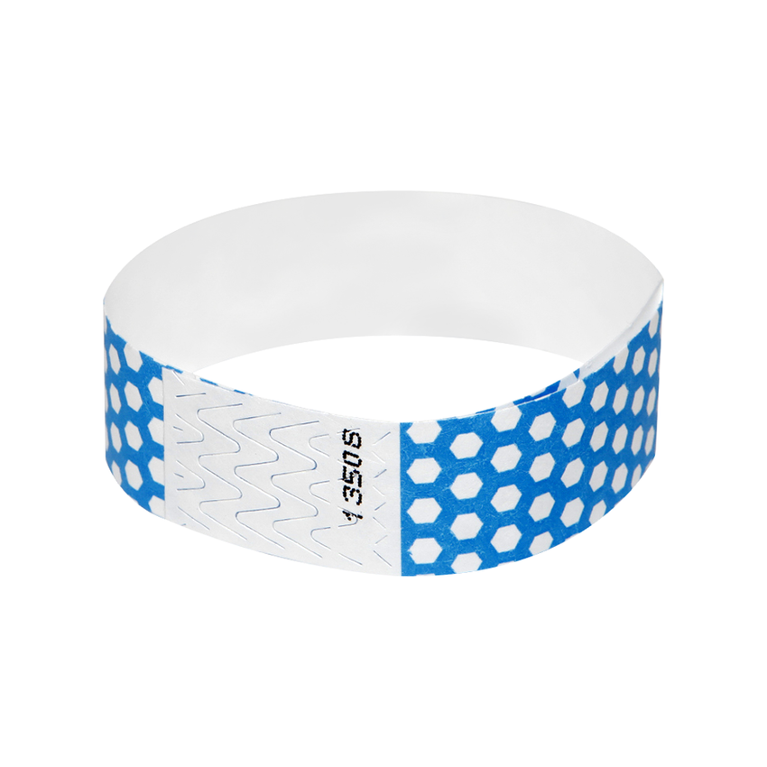 Bright Blue Honeycomb Tyvek Wristbands