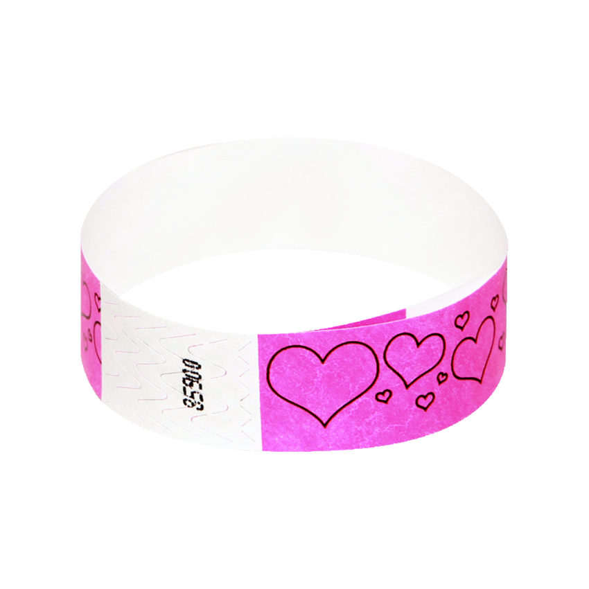 100 Pink Hearts Tyvek Wristbands