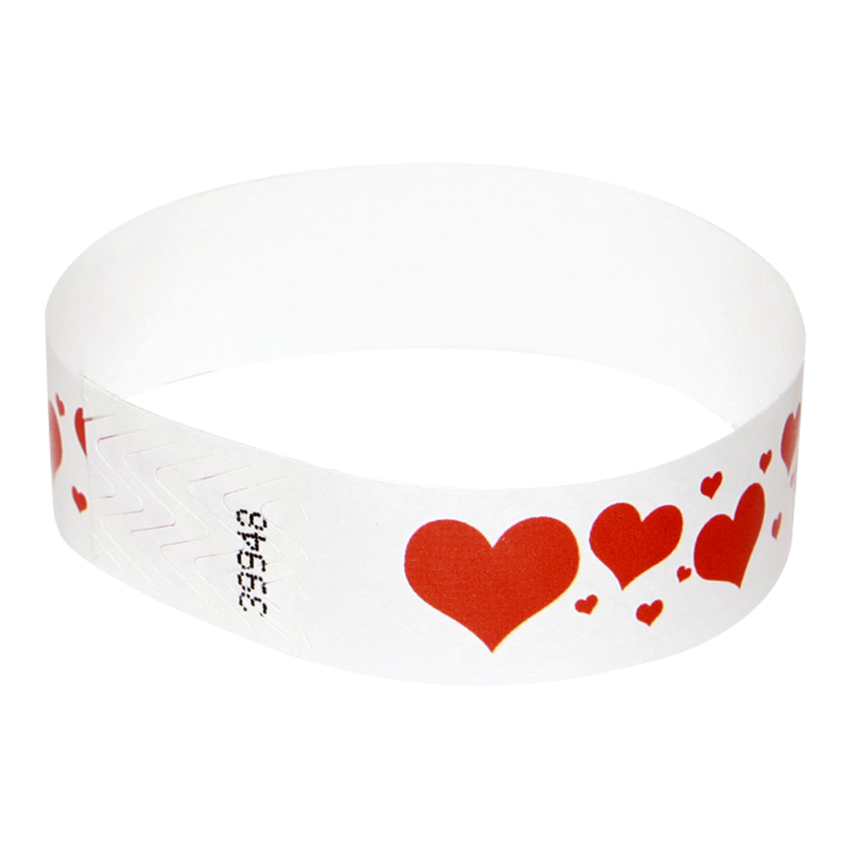 500 Valentine's Day Tyvek Wristbands